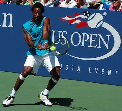 Gael Monfils looks like the member of a tennis playing species