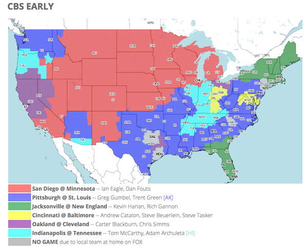 How can i tell what nfl football is on tv in my area dear sports fan for example in the top map the cbs early map we see that the new england vs miami game will be shown in all of new england and florida publicscrutiny Image collections